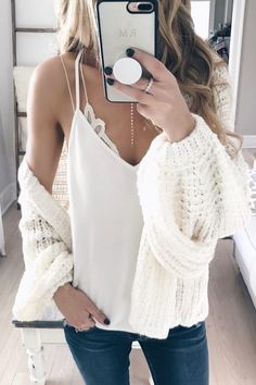 top outfits of 2017 - blouson sleeve cardigan over white cami and bralette on pinterestingplans
