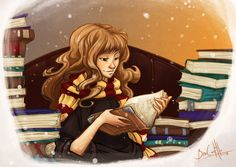 Hermione and books by nary-san.deviantart.com on @deviantART