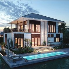 Best Modern Mansion Design Ideas That Will Blown Your Mind - Modern Mansions are the pinnacle of luxury when it comes to home design (let's be honest, how many people in the world live in an actual castle). Architecture Design, Mansion Designs, Casas Containers, Modern Mansion, Design Case, House Goals, Modern House Design, Home Fashion, Fashion Beauty