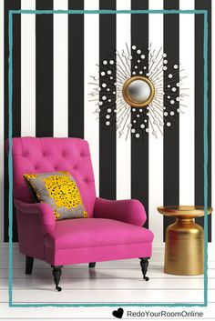 Striped wall with eye-catching - Wallpaper Ideas Black And White Interior, White Interior Design, Black And White Wallpaper, Online Interior Design Services, Bedroom Decor, Wall Decor, Striped Walls, Glam Room, Home Decor Inspiration