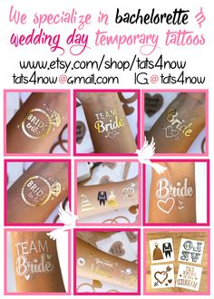Amazing bachelorette party tattoos and wedding day temporary tattoos!! so fun!  www.etsy.com/shop/tats4now  $11 for some sets