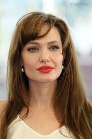 Angelina Jolie side swept bangs