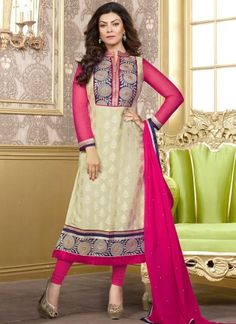 Cream And Hot Pink Net With Brasso Churidar Suit http://www.angelnx.com/Salwar-Kameez/