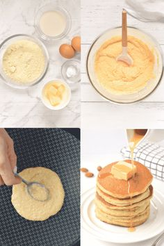 KETO ALMOND FLOUR PANCAKES easy breakfast with only 2.6 g net carbs per pancakes. The best fluffy pancakes to starts the day. #ketogenicdiet #ketopancakes #healthybreakfast #lowcarbfoods #lowcarbrecipes #lowcarbdiet #lowcarbbreakfast #lowcarb #lowcarbpancakes #ketorecipes #ketoforbeginners #ketodiet #ketogenes #ketones #ketosis #almondflourpancakes #glutenfreepancakes #grainfreepancakes #healthypancakes Almond Flour Pancakes, Keto Pancakes, Pancakes Easy, Fluffy Pancakes, Keto Friendly Desserts, Low Carb Desserts, Dessert Recipes, Baking Recipes, Diet Recipes