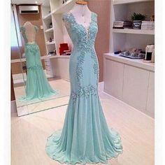 Long Sleeveless Mermaid Prom Gown V Neckline Applique pst0006