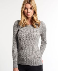 Shop Superdry Womens Croyde Twist Cable Crew Neck Jumper in Charcoal Marl Nep. Buy now with free delivery from the Official Superdry Store. Chunky Cable Knit Sweater, Marled Sweater, Crewneck Sweaters, Gray Sweater, Warm Sweaters, Sweaters For Women, Pullover Mode, Preppy Sweater, Models
