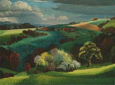 Early Spring, Distant View of Battle and Telham Hills, East Sussex by Hugh Griffiths, 1952