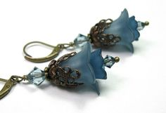 Flower Earrings Vintaj Brass Dazzling Blue Dangle by jewelrybyNaLa, $24.50