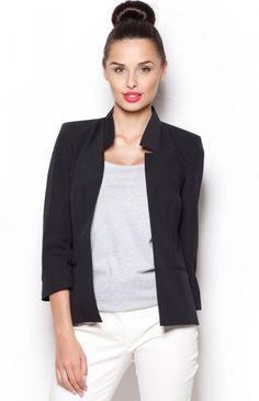 Figl M297 żakiet czarny Kobiecy krótki żakiet damski dostępny w kilku kobiecych kolorach, który przykuwa uwagę