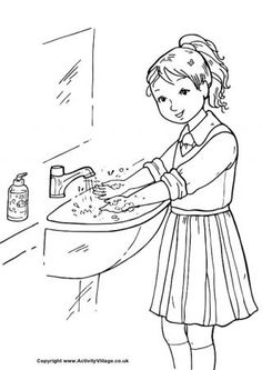 Wash Your Hands Coloring Page Girl Washing Her