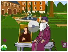 Extrait gratuit Mobiclic. Ce mois-ci dans le dossier consacré à Léonard de Vinci, retrouvez dix animations pour découvrir la vie et l'œuvre de Léonard. À vous de cliquer sur les silhouettes pour plonger au cœur de l'histoire de cet artiste de génie. Il vous dévoile ses peintures et ses nombreuses inventions.