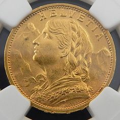 1908 B SWITZERLAND 20 FRANCS NGC MS-64 AUTHENTIC COLLECTIBLE COIN 3353222-001