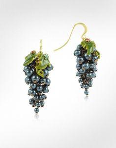 Les Nereides Fruits d'Automne - Black Grape Earrings | FORZIERI