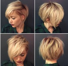 Short dramatic cut blond hair- layered, fringe, bob