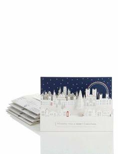 5 City Scene 3D Christmas Multipack of Cards-Marks & Spencer