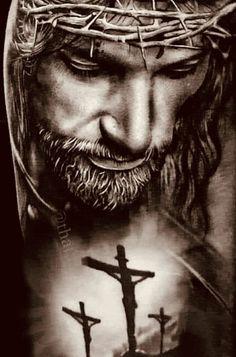 Jesus Christ Painting, Jesus Artwork, Jesus Christ Quotes, Pictures Of Jesus Christ, Cruces Tattoo, Jesus Tattoo Design, Jesus Drawings, Heaven Tattoos, Christ Tattoo
