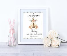 Bridal Shower Welcome Sign, Bridal Shower Signs, Bridal Shower Decorations, Print And Cut, Special Day, A Table, Place Card Holders, Printable
