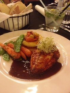 Pickled chilly marinated grilled chicken with whole grain mustard jus