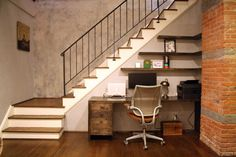 """""""Corner Office"""" - love the floating shelves wrapped into the corner and the rustic feel of the desk"""