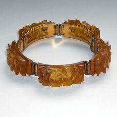 Applejuice Bakelite Carved Bracelet by HestersCloset on Etsy, $575.00
