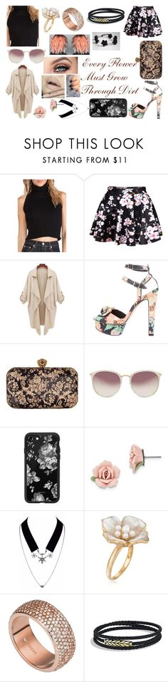 """""""Floral"""" by alexblackwood on Polyvore featuring WithChic, Loeffler Randall, Chesca, Linda Farrow, Casetify, 1928, Ross-Simons, FOSSIL and David Yurman"""