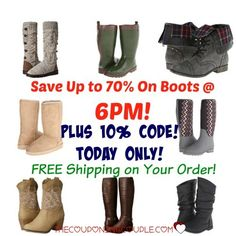 WOW!! We have a 10% Code for 6PM! Today only! Tons of great deals- especially on boots! Grab some now as the weather gets cooler! Rain, casual, dress, snow and so many other boots! Free shipping too! Prices start at $14.99  Click the link below to get all of the details ► http://www.thecouponingcouple.com/hot-6pm-10-off-code-save-up-to-80-on-boots/  #Coupons #Couponing #CouponCommunity  Visit us at http://www.thecouponingcouple.com for more great posts!