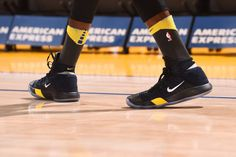 The sneakers of Draymond Green of the Golden State Warriors are seen before the game against the Memphis Grizzlies on December 30 2017 at ORACLE...