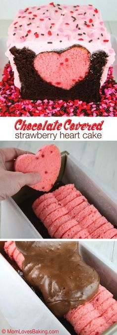 Covered Strawberry Heart Cake An adorable cake to satisfy chocolate covered strawberry lovers. Super cute with a pink heart surprise inside.An adorable cake to satisfy chocolate covered strawberry lovers. Super cute with a pink heart surprise inside. Surprise Inside Cake, Surprise Surprise, Chocolate Loaf Cake, Baking Chocolate, Pink Chocolate, Chocolate Coating, Chocolate Desserts, Cake Recipes, Dessert Recipes