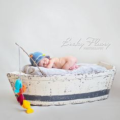 Baby Boy Fishing Hat Photography Prop Newborn by StitchBuyStitch
