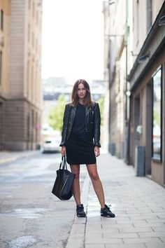 Chanel sneakers, Celine bag, Balenciaga jacket, Filippa K skirt and tee from Gina Tricot