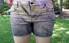Black Denim Splattered Shorts - Denim Upcycle Size 12. $14.50, via Etsy.