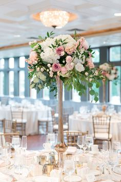 Classic Blush-Filled Midwest Wedding at The Van Dusen Mansion Featured Photographer: Maison Meredith Photography; Green Centerpieces, Tall Wedding Centerpieces, Centerpiece Flowers, Centerpiece Ideas, Flower Decorations, Wedding Decorations, Floral Wedding, Wedding Flowers, Wedding Reception Planning