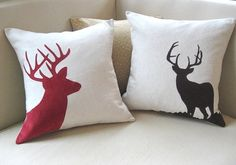 Winter Woodland Buck Deer Antler Silhouette Pillow Cover, Flax & Valentine's Red Corduroy 20x20, Rustic Modern, January Finds, Nesting. $48.00, via Etsy.