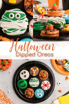 Halloween Treats: Get into the spooky and festive spirit with these Halloween Dipped Mint Oreos. This recipe includes decadent mint Oreos dipped in various colors of melted chocolate and finished off with candy eyes and other creepy candies for the perfect, easy treat. #halloween #oreo #halloweenfood | See this and other delicious recipes at TheSeasideBaker.com