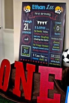 Melly Moments: Thrift It Thursday: Sports Party Freebies! Sports Themed Birthday Party, Sports Party, 1st Boy Birthday, First Birthday Parties, Birthday Party Decorations, First Birthdays, Birthday Ideas, Ball Birthday, Birthday Chalkboard