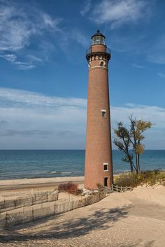 Little Sable Point Lighthouse, Mears, MI, October, 2014 by Norm Powell on Lighthouse Lighting, Lighthouse Pictures, Lighthouse Art, Beacon Of Light, Architecture Details, Places To Go, Beautiful Places, Scenery, Around The Worlds