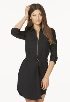 Urban utility is in and this shirt dress is sure to make you look absolutely stylish! It features a classic collar, belted waist and chest pockets that give it that urban chic look you're looking for....