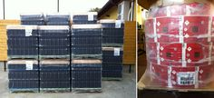 On the left we have 12,000 bottles on 14 pallets - On the right we have 12,000 tetra paks on one pallet