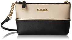 Calvin Klein on My Corner Top Zip Saffiano Crossbody Bag, Wheat/Black