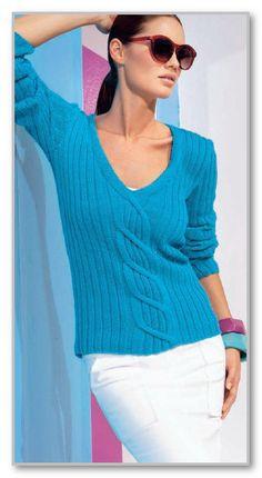 Вязание спицами. Классический пуловер с V-вырезом и центральной косой. Размеры: 36/38 (40/42-44/46)