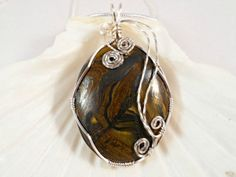 Tiger Eye Wire Wrapped Pendant Necklace and by elainesgems on Etsy, $24.50