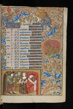 APVRIL - Book of Hours, 3rd quarter 15th cent, Ms. lat. 33, fl. 4r, Bibl. de Genève