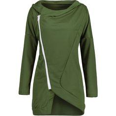 Skew Zipper Color Block Hoodie ($13) found on Polyvore featuring women's fashion, tops, hoodies, green zip hoodie, army green hoodie, zipper hoodies, olive green hoodies and sweatshirt hoodies