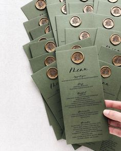 """Pretty menus on green card stock and our gold """"Tree"""" wax seal. For all greenery wedding lovers out there. Wedding Menu Cards, Wedding Stationary, Wedding Table, Wedding Day, Wedding Branding, Garden Wedding Invitations, Wedding Ceremony, Menu Design, Wax Seals"""