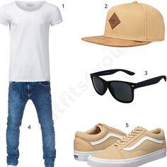 Cooles Männer-Outfit mit weißem Crone T-Shirt, Sonnenbrille, beiger Djinns Mütze, Vans Sneakern und Wotega Jeans. Jetzt ansehen!
