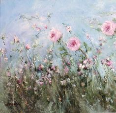 'Roses and Wild Flowers' an original painting by artist Gail McCormack. Love the energy of these flowers in a breeze. Great impressionistic texture in the stems and soft pink flower blossoms against a calm blue sky. Back Painting, Impressionist Paintings, Arte Pop, Abstract Flowers, Beautiful Paintings, Flower Art, Cactus Flower, Painting Inspiration, Original Paintings