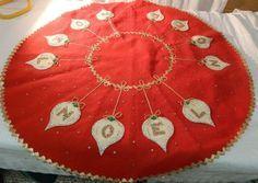Vintage Handmade Red Felt Christmas Tree Skirt Tablecloth Sequins Noels Z