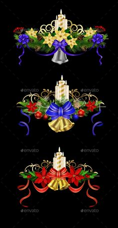 Christmas decoration set with evergreen treess holly and poinsettia isolated on black with swirls candle and bells