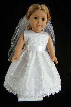 Sleeveless First Communion, Wedding, or Flower Girl Dress for 18 Inch Doll and American Girl 3