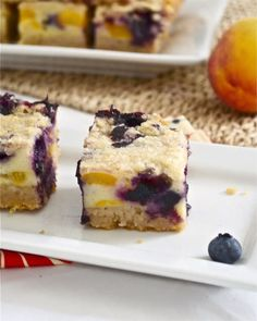 Blueberry peach pie bars are thick and decadent, with a flakey, buttery crust and topping, and a greek yogurt fruity filling. Try this recipe from Flavor the Moments today!